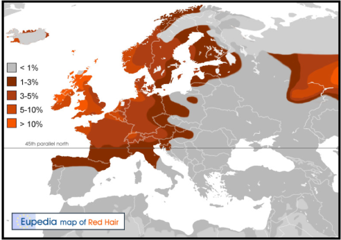 Image from Expedia: Estimated distribution of red hair in Europe